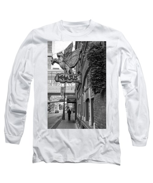 Pegasus In Detroit Black And White  Long Sleeve T-Shirt