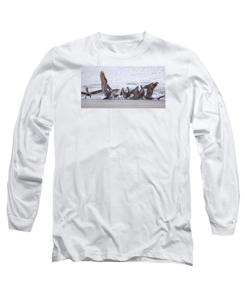 Long Sleeve T-Shirt featuring the photograph Pelican Brunch by Patricia Schaefer