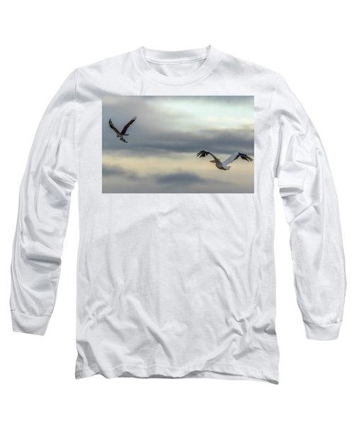 Pelican Chasing Osprey Long Sleeve T-Shirt