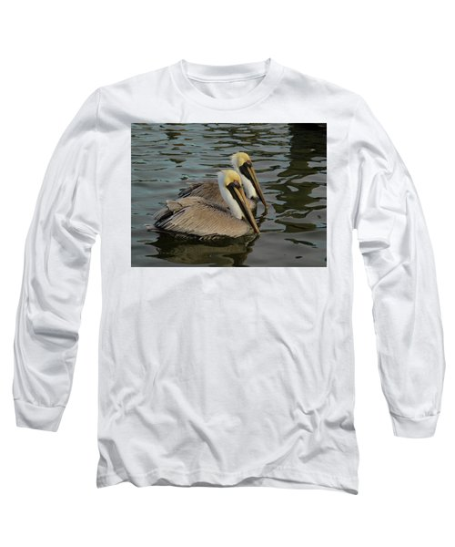 Long Sleeve T-Shirt featuring the photograph Pelican Duo by Jean Noren