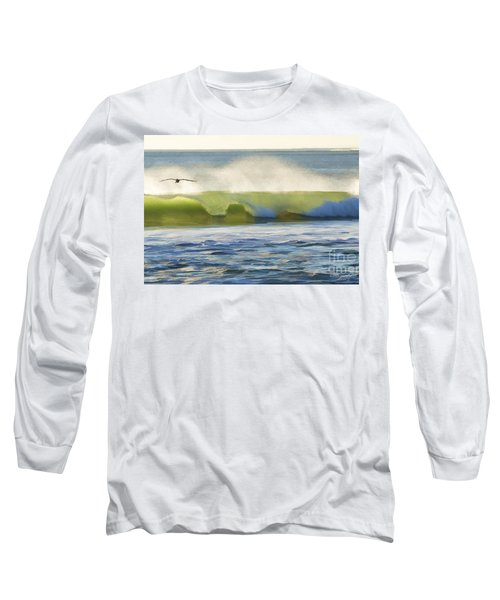 Long Sleeve T-Shirt featuring the photograph Pelican Flying Over Wind Wave by John A Rodriguez
