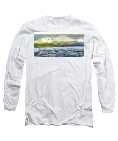 Pelican Flying Over Wind Wave Long Sleeve T-Shirt