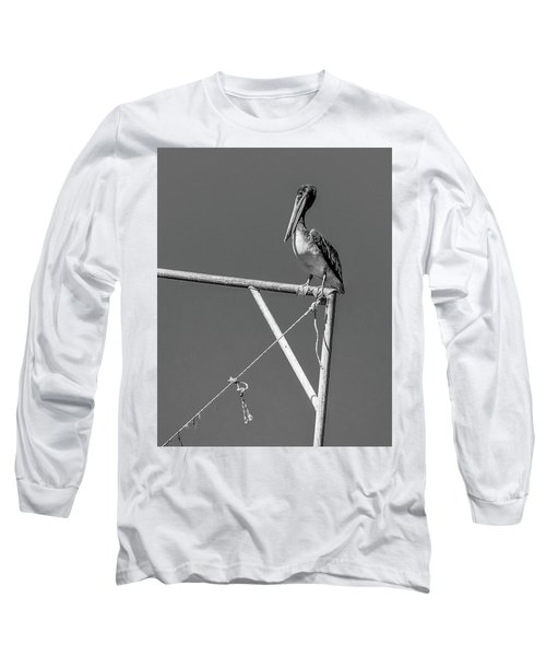 Pelican In Black And White Long Sleeve T-Shirt