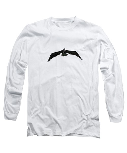 Pelican In Flight  Long Sleeve T-Shirt by Zina Stromberg