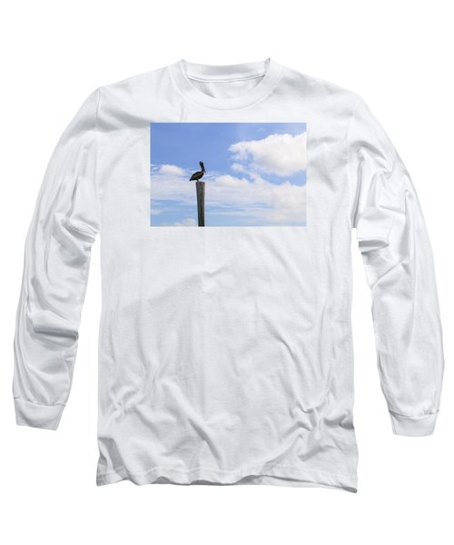 Pelican In The Clouds Long Sleeve T-Shirt by Christopher L Thomley