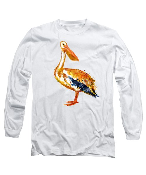 Pelican Watercolor Painting Long Sleeve T-Shirt by Marian Voicu