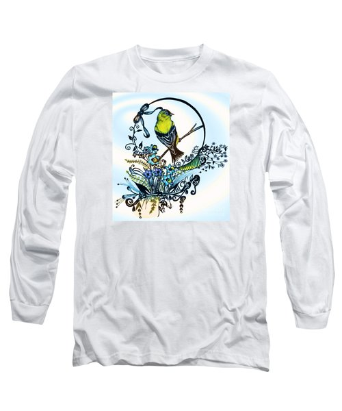 Long Sleeve T-Shirt featuring the drawing Pen And Ink Art, Colorful Goldfinch, Watercolor And Digital Art, Wall Art, Home Decor Design by Saribelle Rodriguez