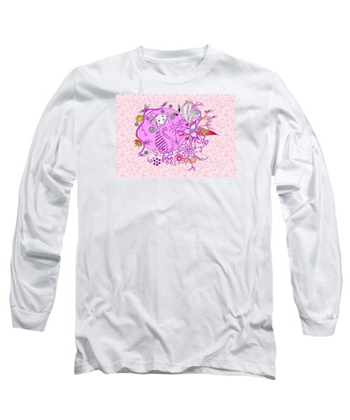 Pen And Ink Colorful Cat Drawing Long Sleeve T-Shirt by Saribelle Rodriguez