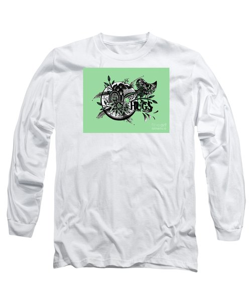 Long Sleeve T-Shirt featuring the drawing Pen And Ink Drawing Hugs Green Art by Saribelle Rodriguez