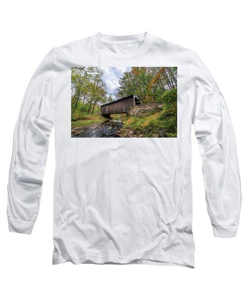 Pennsylvania Covered Bridge In Autumn Long Sleeve T-Shirt