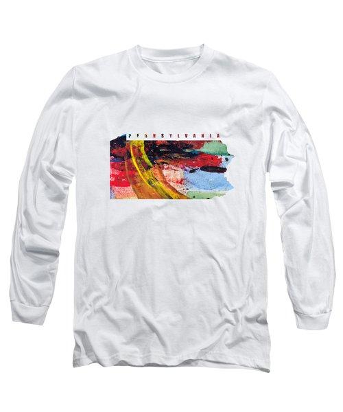 Pennsylvania Map Art - Painted Map Of Pennsylvania Long Sleeve T-Shirt