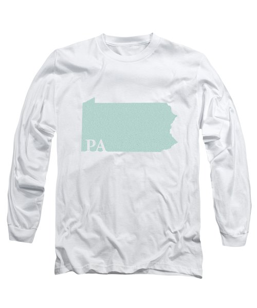 Pennsylvania State Map With Text Of Constitution Long Sleeve T-Shirt