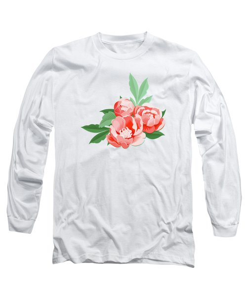 Peonies And Mint Long Sleeve T-Shirt