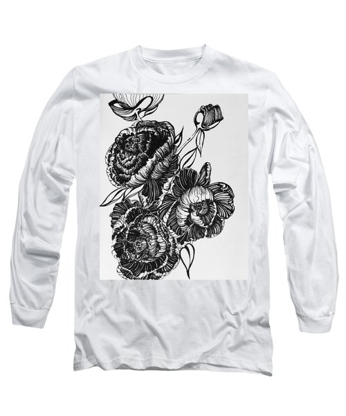 Peonies Line Drawing Long Sleeve T-Shirt