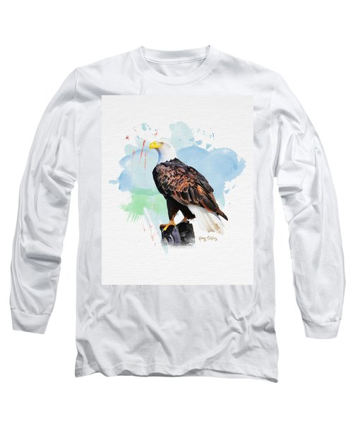 Long Sleeve T-Shirt featuring the painting Perched Eagle by Greg Collins
