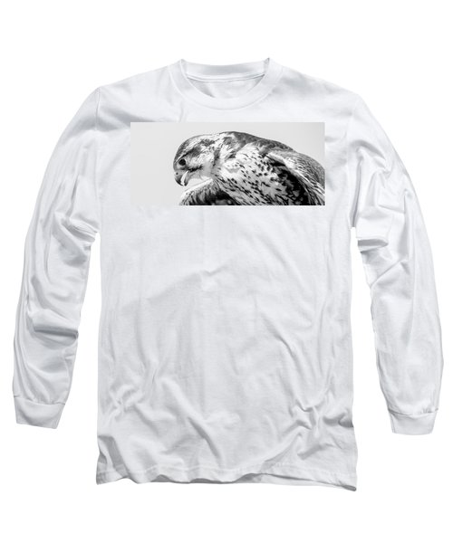 Peregrine Falcon In Black And White Long Sleeve T-Shirt