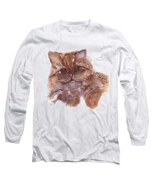 Persian Cat By Kmcelwaine Long Sleeve T-Shirt by Kathleen McElwaine