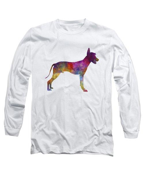Peruvian Hairless Dog In Watercolor Long Sleeve T-Shirt by Pablo Romero