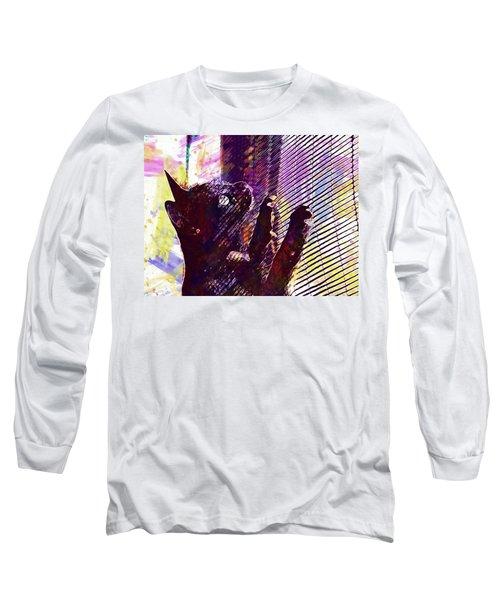 Long Sleeve T-Shirt featuring the digital art Pet Cat Look Kitten  by PixBreak Art