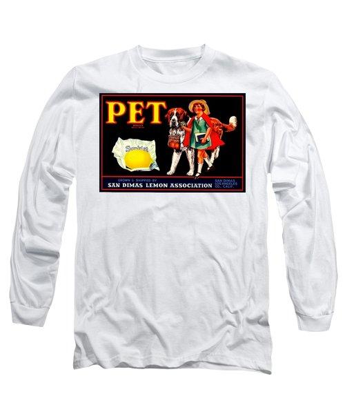Long Sleeve T-Shirt featuring the painting Pet Saint Bernard 1920s California Sunkist Lemons by Peter Gumaer Ogden