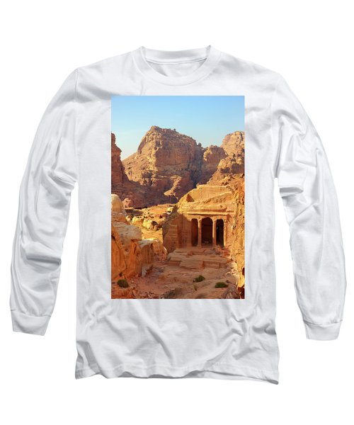 Petra Buildings, Pond And Gardens Complex Long Sleeve T-Shirt by Nicola Nobile