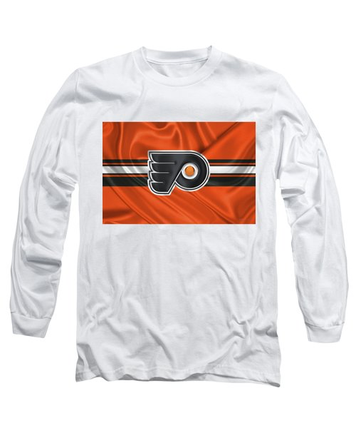 Philadelphia Flyers - 3 D Badge Over Silk Flag Long Sleeve T-Shirt by Serge Averbukh