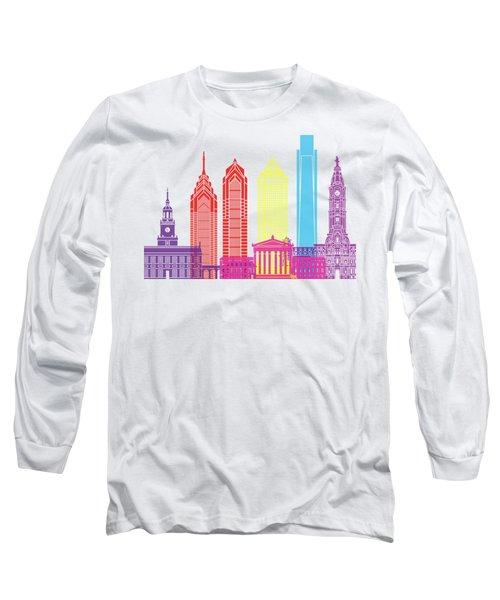 Philadelphia Skyline Pop Long Sleeve T-Shirt