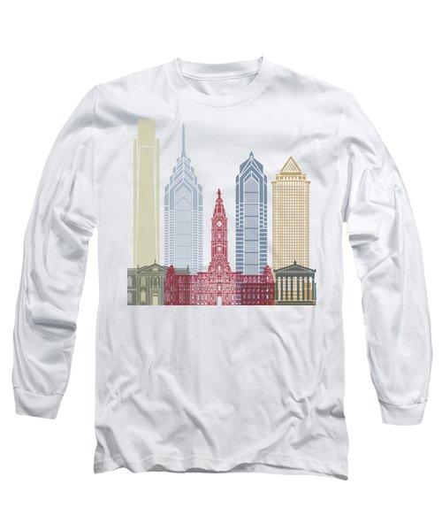 Philadelphia Skyline Poster Long Sleeve T-Shirt