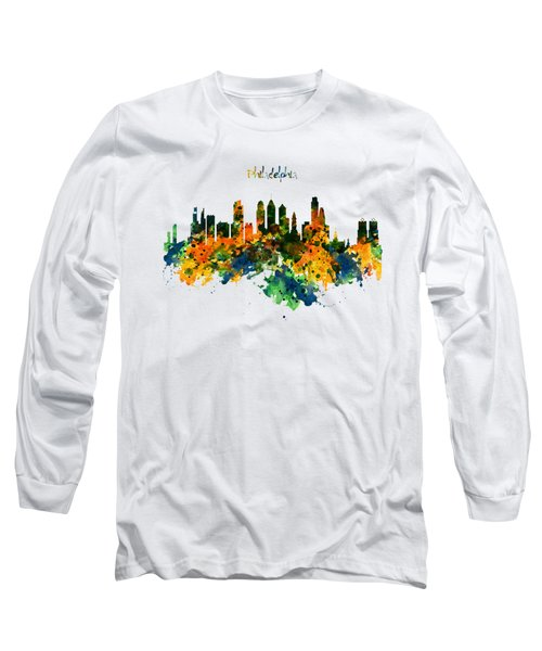 Philadelphia Watercolor Skyline Long Sleeve T-Shirt