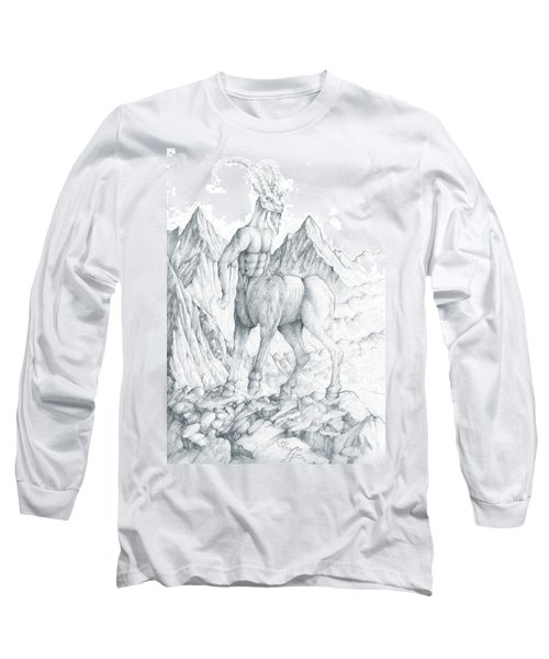 Long Sleeve T-Shirt featuring the drawing Pholus The Centauras by Curtiss Shaffer