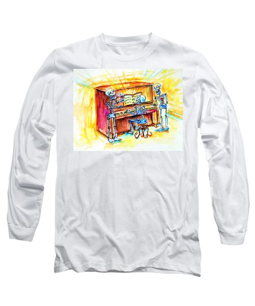 Long Sleeve T-Shirt featuring the painting Piano Man by Heather Calderon