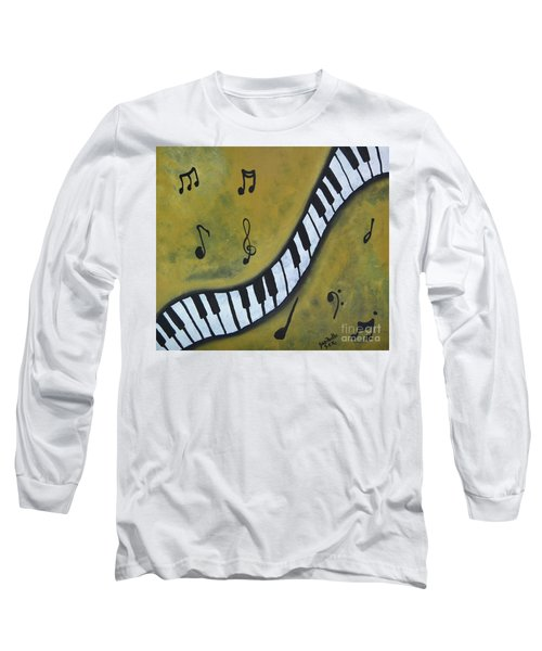 Piano Music Abstract Art By Saribelle Long Sleeve T-Shirt by Saribelle Rodriguez