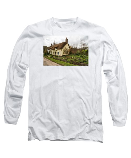 Picturesque Dunster Cottage Long Sleeve T-Shirt by Shirley Mitchell