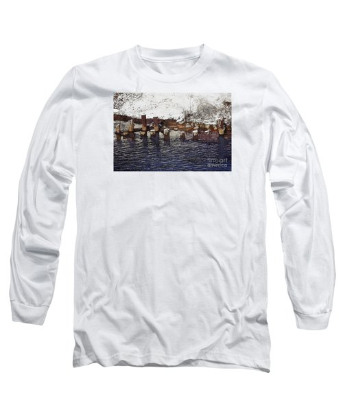 Long Sleeve T-Shirt featuring the digital art Pier Piles by David Blank