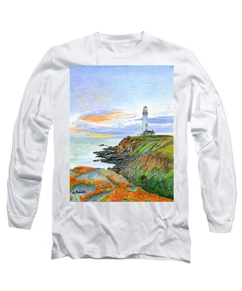 Pigeon Point Sunset Long Sleeve T-Shirt by Mike Robles