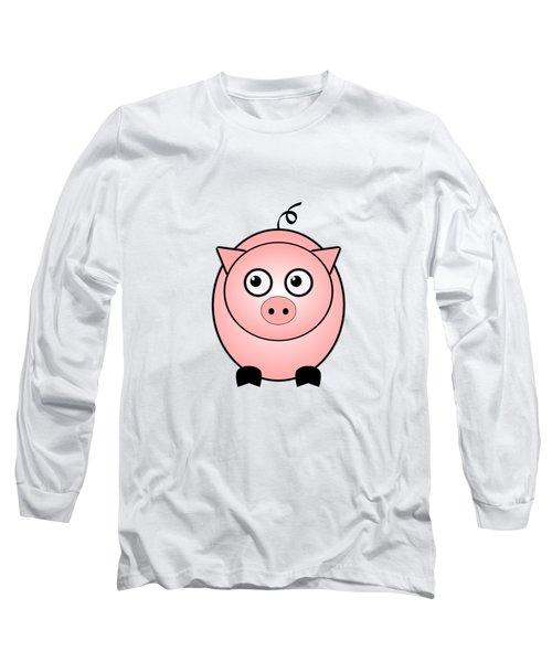 Piggy - Animals - Art For Kids Long Sleeve T-Shirt by Anastasiya Malakhova