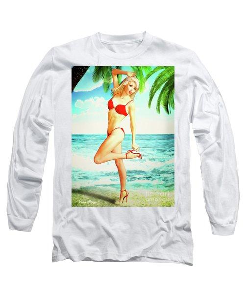 Pin-up Beach Blonde In Red Bikini Long Sleeve T-Shirt