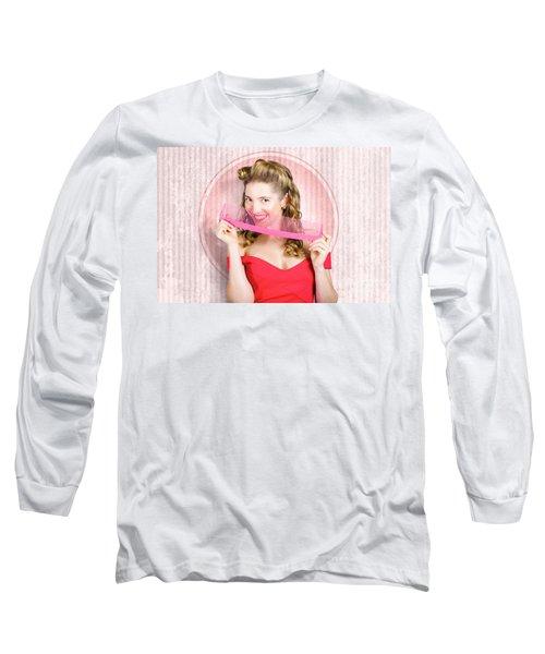 Pin Up Hairdresser Woman With Hair Salon Brush Long Sleeve T-Shirt