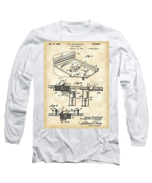 Pinball Machine Patent 1939 - Vintage Long Sleeve T-Shirt by Stephen Younts