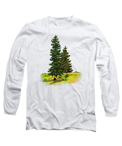 Pine Tree Nature Watercolor Ink Image 2b        Long Sleeve T-Shirt