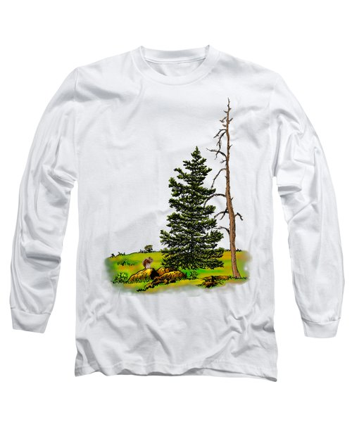 Pine Tree Nature Watercolor Ink Image 3         Long Sleeve T-Shirt