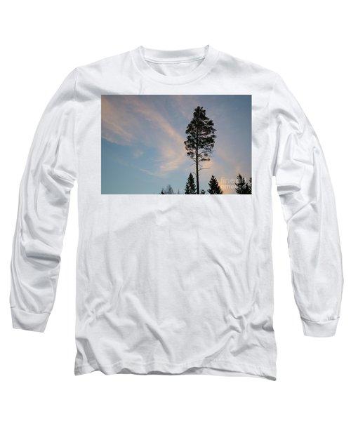 Pine Tree Silhouette Long Sleeve T-Shirt by Kennerth and Birgitta Kullman