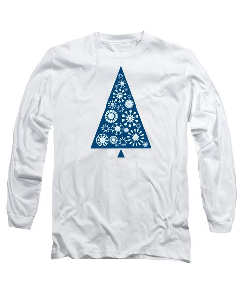 Pine Tree Snowflakes - Blue Long Sleeve T-Shirt