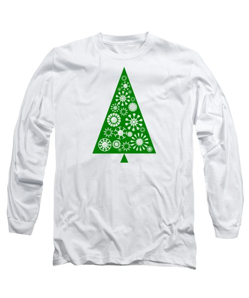 Pine Tree Snowflakes - Green Long Sleeve T-Shirt