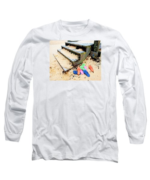 Pink And Blue Flip Flops By The Steps Long Sleeve T-Shirt by Michael Thomas