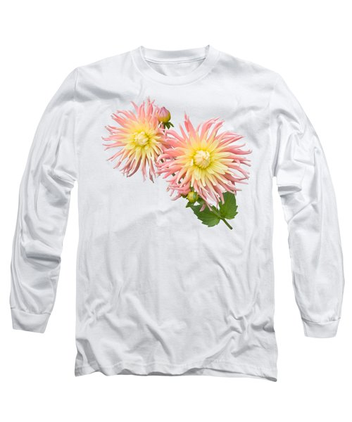 Pink And Cream Cactus Dahlia Long Sleeve T-Shirt by Jane McIlroy