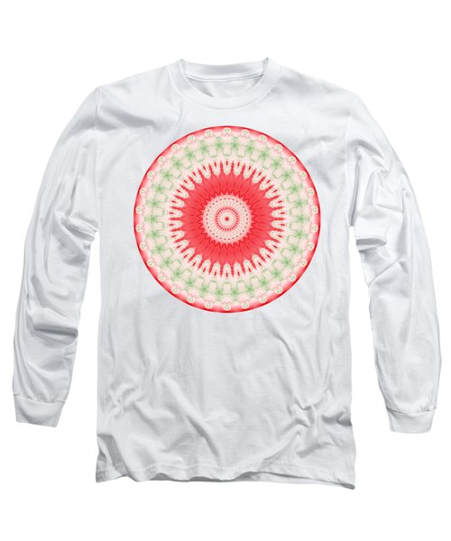 Pink And Green Mandala Fractal 001 Long Sleeve T-Shirt
