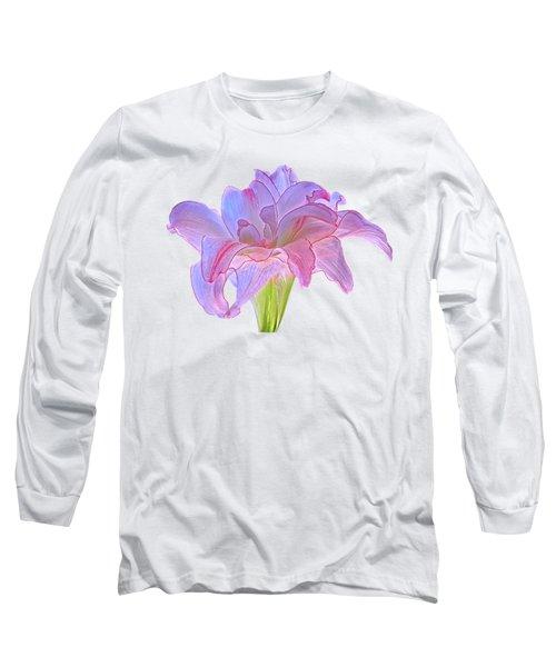 Pink And Purple Amaryllis On White Long Sleeve T-Shirt