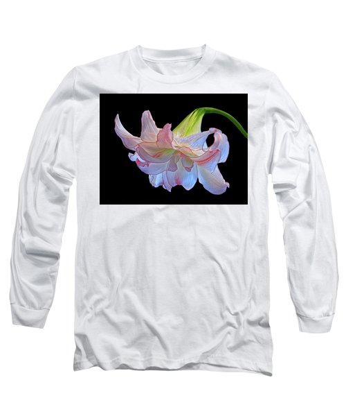Long Sleeve T-Shirt featuring the photograph Pink And White Double Amaryllis On Black by Gill Billington
