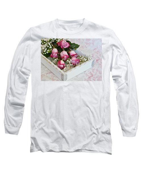 Pink And White Roses In White Box Long Sleeve T-Shirt by Diane Alexander